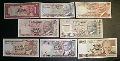 Lot of 8 Different TURKEY Banknotes