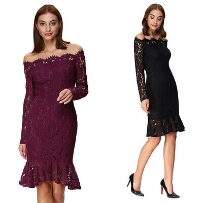 Elegant Spring Women Casual Mermaid Dress Off The Shoulder Lace Hollow Out Dress