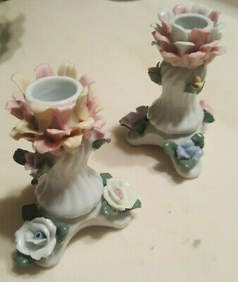 2- Vintage Porcelain 3D Flower CANDLE HOLDER Floral Candlestick Pink White Green