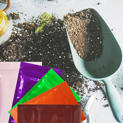 Glossy Foil Pouches for Seeds and Gardening Supplies Ziplock & Labels
