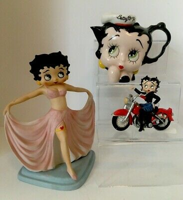 Assortment Of Vintage Betty Boop Collector's Figurines Motorcycle Tea - Lot Of 3