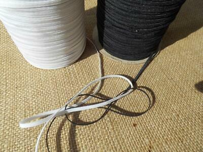 "X 10 Metres 4 CORD 3MM ⅛ "" flat ELASTIC black white face mask SOFT & STRONG"