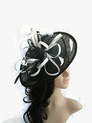 BLACK & WHITE SINAMAY & FEATHER FASCINATOR HAT.Shaped saucer disc,Wedding.NEW