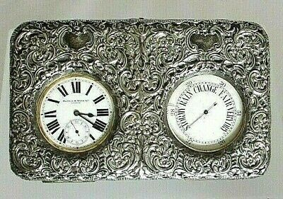 Mappin & Webb 1913 Pocket Watch and Barometer Silver Outer Desk-box