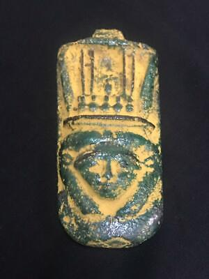 Rare ancient egyptian antique faience amulet Nefertari 1350-1069 bc