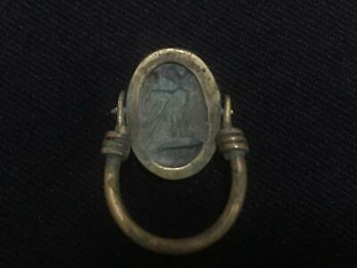 Rare ancient egyptian antique copper ring scarab 1550-1069 bc