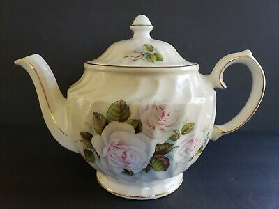 Windsor China Teapot Flowers Roses England Swirled Vintage