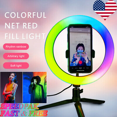 RGB LED Ring Light Studio Photo Video Dimmable Lamp Tripod Stand Camera Selfie ❀
