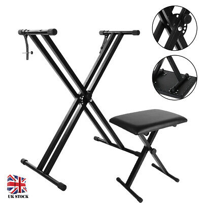 Piano Keyboard Stand and Stool Set - X Frame Stand & Folding Bench Adjustable UK