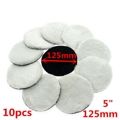 Set Of 10pcs 5 125mm Round Wool Buffing Pad Polishing Wheel Felt Buffer Disc