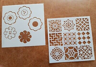 2 X Craft Stencil Template ~ Reusable ~ Square Patterns Flower Shapes  ~ New