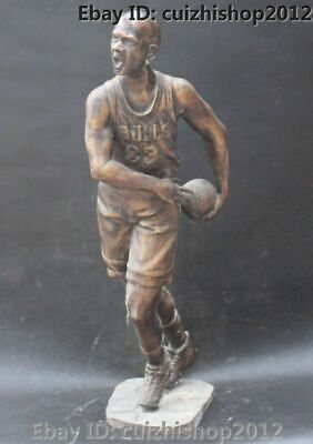"26"" America Famous Bronze Stand Jordan Qiao Dan Hand Basketball Player statues"