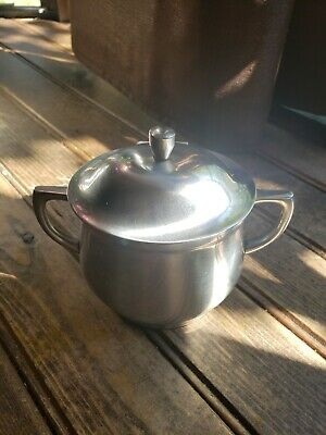 Cromargan Stainless Steel Sugar Bowl with lid & handles Germany Vintage