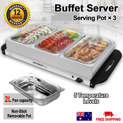 Food Warmer Electric Buffet Server Stainless Steel 3 Tray Large Bain Marie