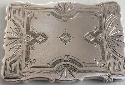 1880s Wood & Hughes sterling silver calling card case Beautiful Victorian Design