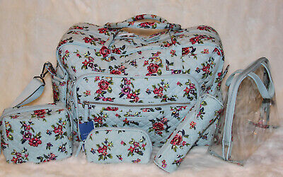 5pc VERA BRADLEY Iconic Weekender Travel Bag Carry On Cosmetic Set Water Bouquet