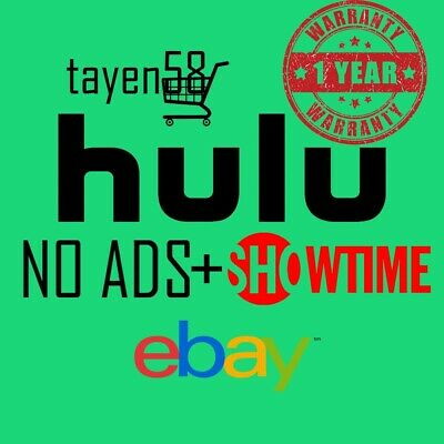 Hulu premium NO ADS+SHOWTIME account - 1 year WARRANTY