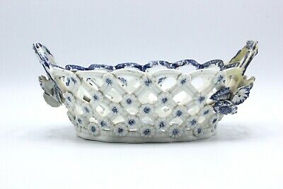 18th c. WORCESTER First Period Dr Wall Reticulated Pinecone Basket Crescent Mark