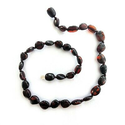 Infant Amber Necklace - Oval Cherry AU