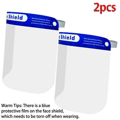 2Pcs Full Face Visor Head Cover Protection Cover PPE Shield Transparent Clear UK