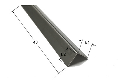 "1/2"" x 1/2"" x 48"" Stainless Steel Corner Guard, 90 Degree Angle, 20ga"