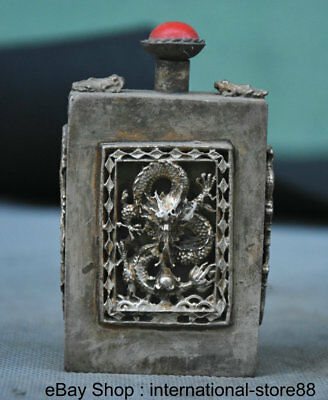 "3.2"" Old Chinese Silver Dynasty Palace Dragon Frog Flower Snuff Bottle"