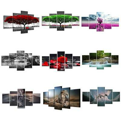 5 Panels Unframed Modern Canvas Art Oil Painting Picture Wall Hanging Home Decor