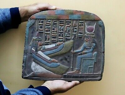 RARE EGYPTIAN EGYPT ANTIQUES ISIS Gods Hieroglyphic Wall STELA RELIEF Stone BC