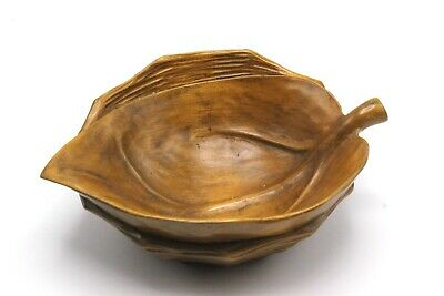 Vintage Wood Figural Leaf Bowl by BLACK, STARR & GORHAM, Made in Italy