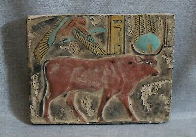 RARE ANCIENT EGYPTIAN EGYPT ANTIQUES Stela Relief God HATHOR HORUS STONE 1427 BC