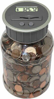 Digital Coin Bank Savings Jar Automatic Coin Counter Original Style, Clear Jar