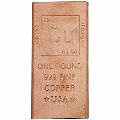 1 Pound Copper Bar Bullion Paperweight - 999 Pure Chemistry Element Design By