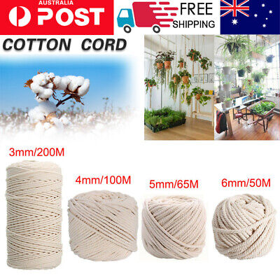 3/4/5/6MM Macrame Rope Natural Cotton Twisted Cord Artisan Hand Craft 50-200M