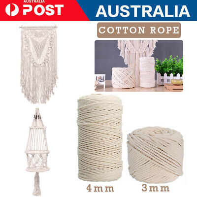 3/4/ MM Macrame Rope Natural Cotton Twisted Cord Artisan Hand Craft 50-200M AU