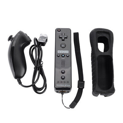 2in1 For Nintendo Wii Motion Plus Remote Nunchuck Controller+Silicon Case-Strap