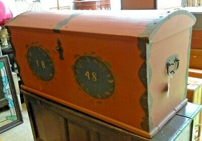 Large Georgian Dome Top Travel/Wedding Pine Trunk with Key Dated 1848