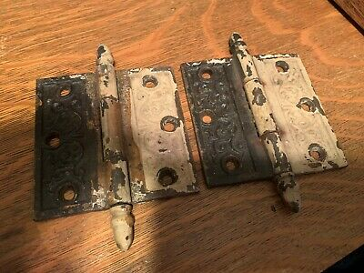 Pair Ornate Victorian Steeple Top Eastlake Hinge 4x4""