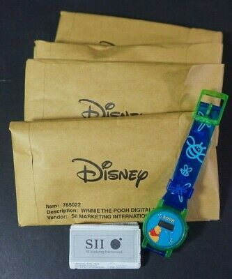 Lot of 4 Disney Winnie The Pooh Digital Watches New Need Batteries Sii Blue