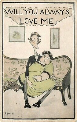 Will You Always Love Me? Fat Lady Skinny Man Antique 1910s Funny Comic Postcard
