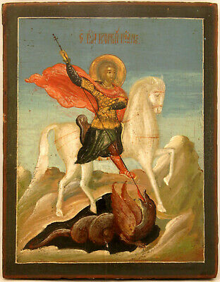 Antik Ikone Russland Heiliger Georg Russian Icon Saint Slaying The Dragon
