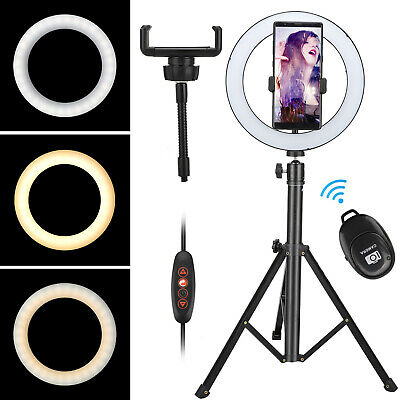 Adjustable Stable Tripod Phone Stand Holder LED Ring Light For Mobile Cell Phone