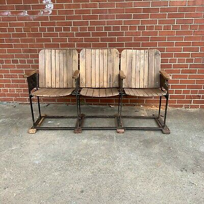 Vintage Theater Seats, Industrial Cinema Triple Chairs, Rustic Entryway Chairs