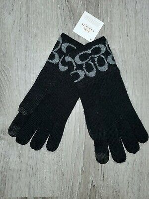 Coach men black logo knit gloves NWT $65
