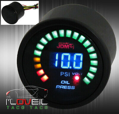 "2"" Digital Blue LED Oil Pressure Volt 52mm Race Car Gauge Meter Smoked For Honda"