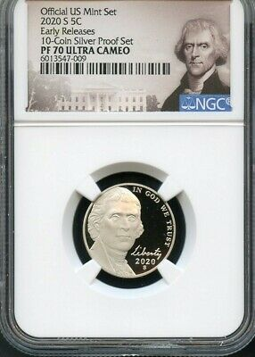2020 S Jefferson Nickel Early Releases From 10-Coin Proof Set NGC PF70 UC POR