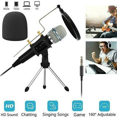 Condenser Microphone Recording Broadcasting Podcast MIC with Stand PC Studio AU