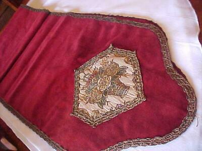 """Antique VELVET Tapestry Runner Cranberry 80"""" Piano Table Buffet Estate Find"""