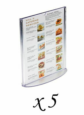 5 Displays2go Acrylic Clear Injection Molded Plastic Table Top Sign Menu Holders