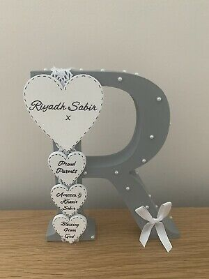 Personalised Handmade Freestanding Letter Christening Gifts Baby Boy/girl