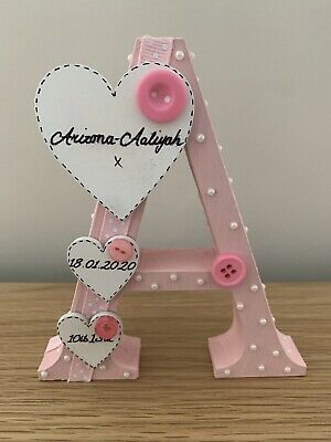 Personalised Handmade Freestanding Letter Christening/Gifts Baby Boy/girl